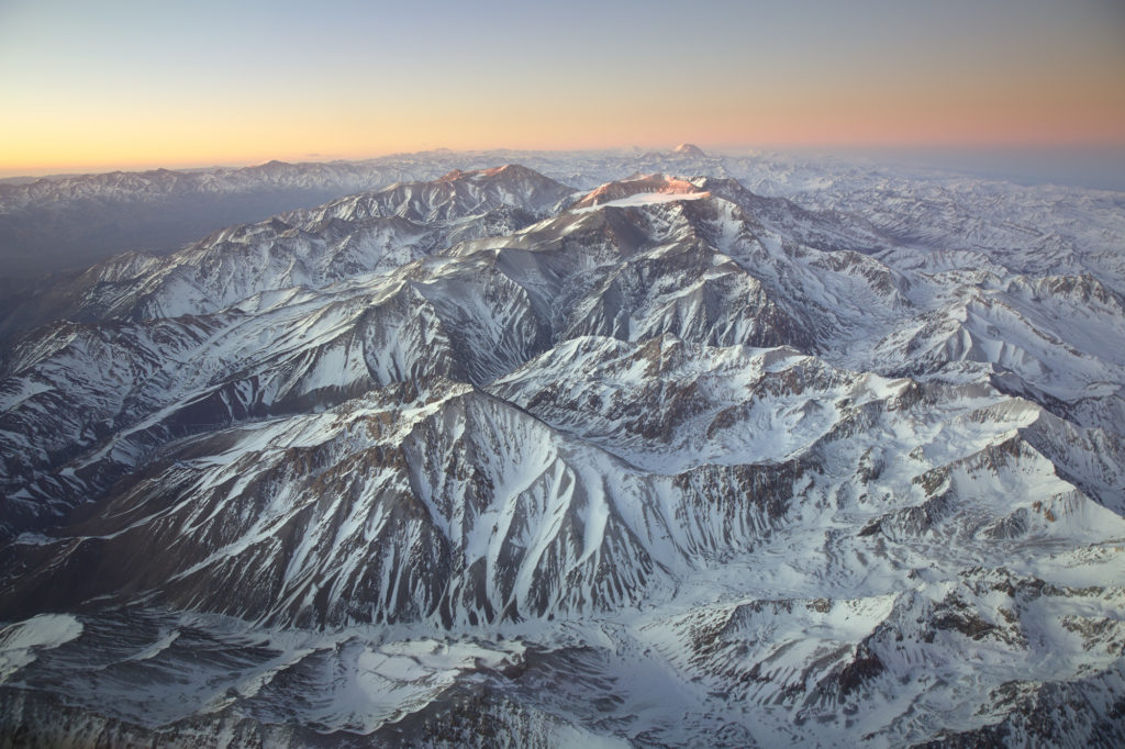 Luftaufnahme vom Aconcagua bei Sonnenaufgang