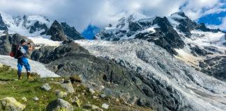 Bergsteiger mit Tschiervagletscher im Hintergrund
