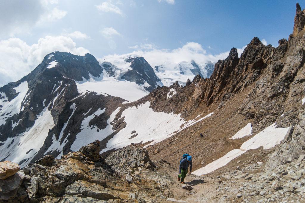 Bergsteiger am Abstieg vom Piz Palü
