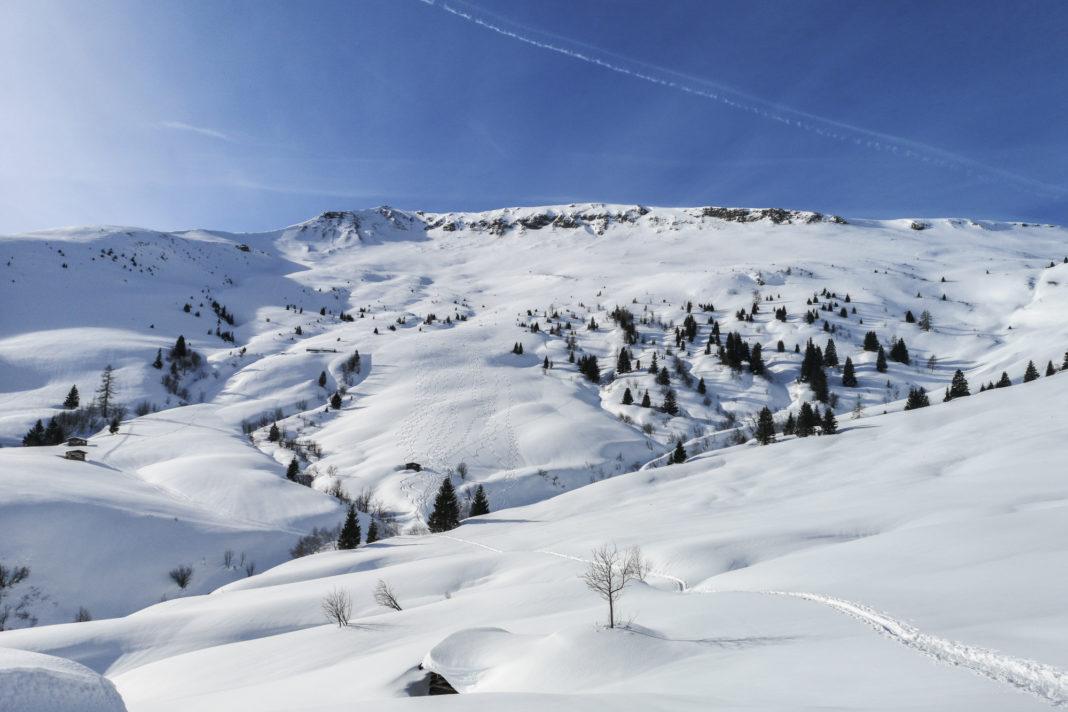 Die Skitourenhänge des Kalkbretterkopf im Winter