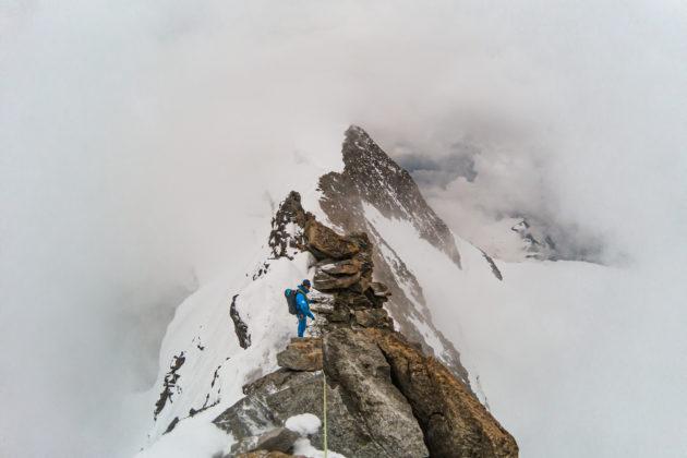 Bergführer Stefan am Spinat Grat - ab hier hatten wir dann leider bis zum Abstieg keine Sicht mehr