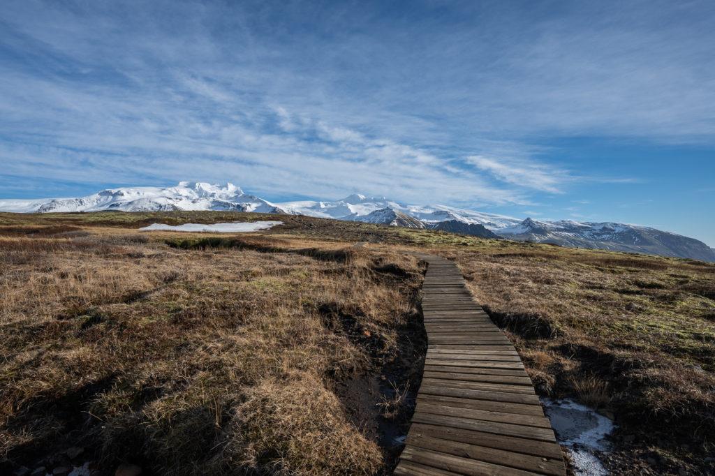 Wanderweg im Nationalpark Skaftafell zum Aussichtspunkt Sjónarnípa