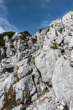 Leichte Kletterei beim Abstieg vom Steinriesenkogel