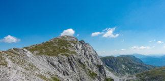Der Gipfel des Hochschwab vom Ausstieg des G'hacktn