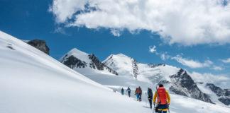 Bergsteiger auf der Spaghetti-Runde in der Schweiz